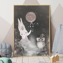 Barnposter, Bunny and owl (18x24 cm)
