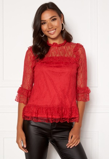 Happy Holly Isabella lace top Red 44/46