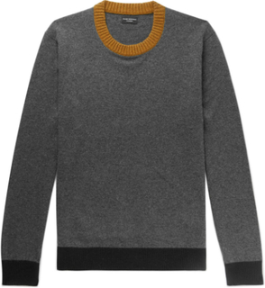 Contrast-trimmed Cashmere Sweater - Charcoal