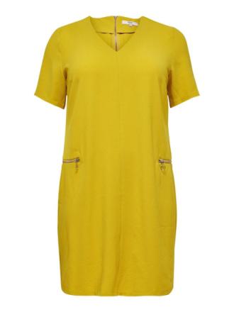 ONLY Curvy Zip Short Sleeved Dress Women Yellow