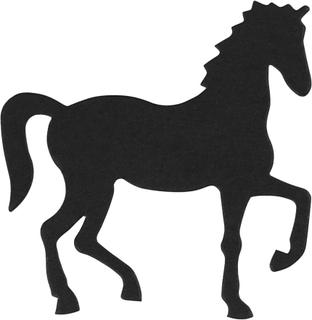 Kartonmærkat, str. 60x64 mm, sort, hest, 10stk.
