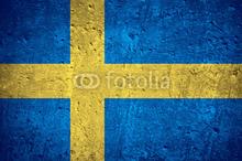Svensk flagga på betong