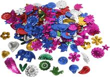 Pailletter, str. 15-45 mm, stærke farver, karneval, 30g