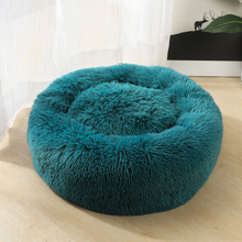 Winter Warm Round Plush Cat Dog Bed House Cyan 40cm