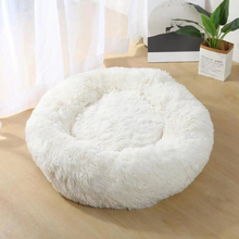 Winter Warm Round Plush Cat Dog Bed House White 40cm