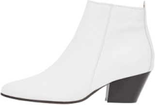 BIANCO Annie Leather Ankle Boots Kvinna White