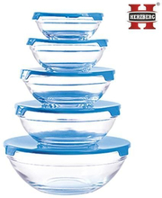 Herzberg HG-5007 Glass Bowls Set 10pcs - Blue