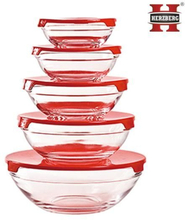 Herzberg HG-5007 Glass Bowls Set 10pcs - Red