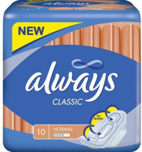 Always Sanitary Pad Classic Normal - 10 pieces