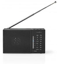 FM-radio | Portabel design | AM / FM | Batteridriven | Analog | 1.5 W | Svart Vit Skärm | Hörlursuttag | Svart