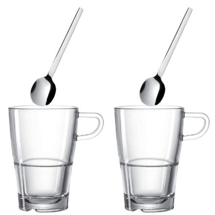 LEONARDO 2 pack Latte Macchiatokoppar Senso + skedar