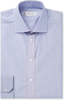 Navy Slim-fit Striped Cotton Shirt - Navy