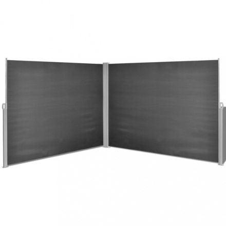 Sidemarkise dobbel 180x600 cm - sort