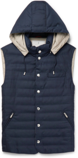 Slim-fit Quilted Wool Hooded Gilet - Navy