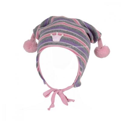 Kivat lue, rosa og lilla med striper og krone