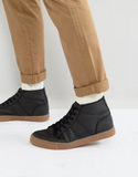 ASOS Mid Top Trainers In Black With Gum Sole - Bla