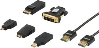 DELTACO HDMI/DisplayPort/DVI adapter kit, HDMI kabel 2m, 4K, svart