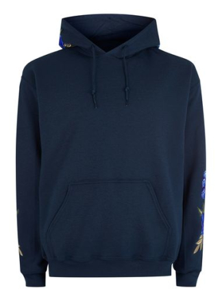 Navy Rose Embroidered Hoodie