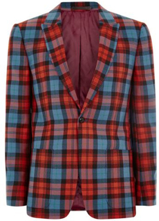 LOCHCARRON X TOPMAN Red and Blue Tartan Skinny Suit Jacket