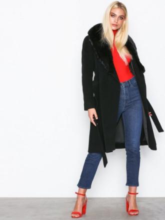 Lauren Ralph Lauren F Col Wl Wrp-Coat Kappor Black