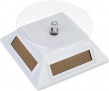 Sol- och batteridriven displaystativ roterande vändbord