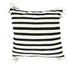 PomPom tyynynpäällinen | Musta-valkoraidallinen 50x50cm