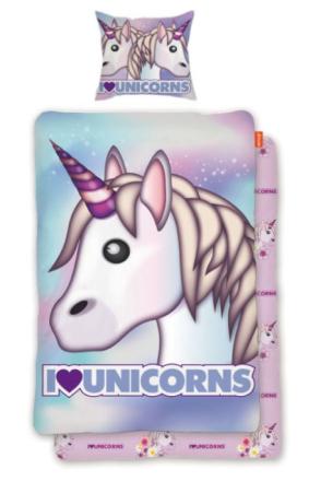 Emoji - Bäddset Unicorns 150x210 cm