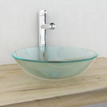 vidaXL Handfat i härdat glas 42 cm frostat