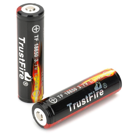 2 PCS/ lot TrustFire Protected 18650 3.7V True 2400mAh Lithium Batteries Rechargeable 18650 Battery for Flashlights