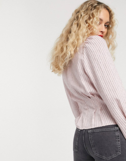 & Other Stories stripe puff sleeve blouse in pink