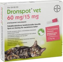 Dronspot vet Spot-on, lösning för medelstora katter 60 mg/ 15 mg
