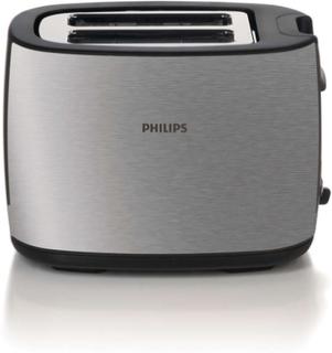 Philips Brödrost HD2628/20 Borstad Metall/Svart