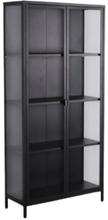 Marton vitrineskab i stål med 2 glaslåger - sort