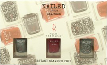 Nailed London Gel Wear Instant Glamour Gift Set 3 x 10ml Nail Polish (Knight Rider + London Conundrum + Rosie's Red)