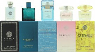 Versace Miniatures Presentset 5ml Versace Yellow Diamond EDT Splash + 5ml Versace Bright Crystal EDT Splash + 5ml Versace Eau Fraiche EDT Splash + 5ml Versace Pour Homme EDT Splash + 5ml Versace Eros EDT Splash