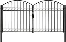 Hageport med dobbel dør og buet topp stål 300x175 cm sort