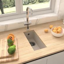 vidaXL køkkenvask med overløbshul granit beige