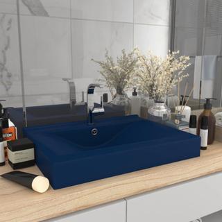 vidaXL Lyxigt handfat med kranhål matt mörkblå 60x46 cm keramik