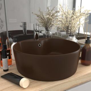 vidaXL Handfat med bräddavlopp matt mörkbrun 36x13 cm keramik