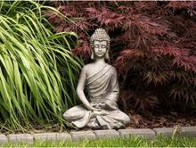 Beliani Trädgårdsfigur buddha grå KATORI