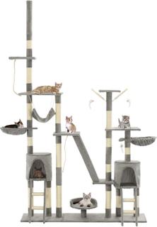 vidaXL kradsetræ til katte med sisal-kradsstolper 230-250 cm grå