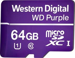 Western Digital WD Purple MicroSDXC-kort 64 GB Class 10, UHS-I Optimeret til 24 timers drift