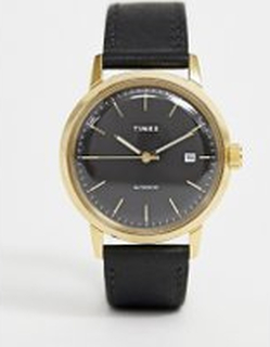 Timex Marlin automatic leather watch in black - Black