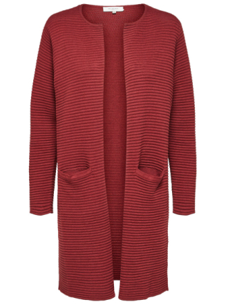 SELECTED Rib Knitted Cardigan Kvinna Röd