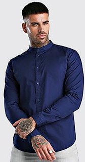 Grandad Collar Long Sleeve Cotton Poplin Shirt