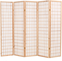 vidaXL Rumsavdelare med 5 paneler japansk stil 200x170 cm naturlig