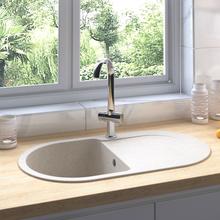 vidaXL køkkenvask med overløbshul oval granit beige