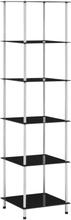 vidaXL reol med 6 hylder 40x40x160 cm hærdet glas sort