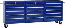 vidaXL værktøjsvogn med 15 skuffer stål blå