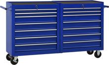 vidaXL værktøjsvogn med 14 skuffer stål blå